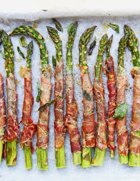 Grilled asparagus wrapped in crispy prosciutto with sage and Parmesan 2