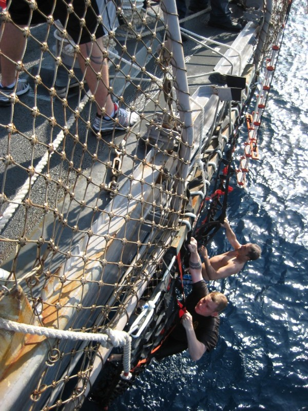 Jumping overboard for Swim Call off the Coast of Yemen 13