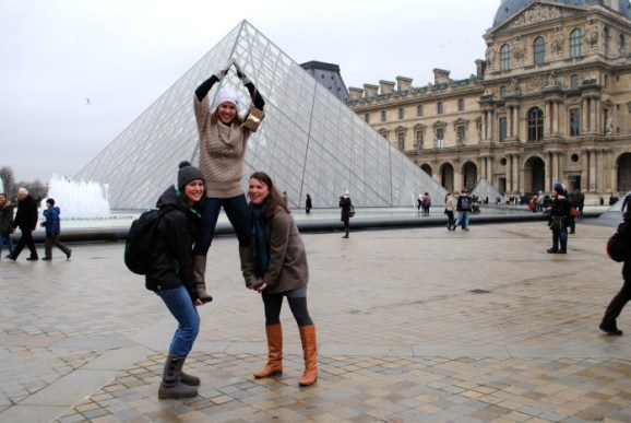Waiting in line to get into the Louvre