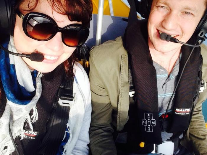 in the cockpit, flying an airplane with a brit!