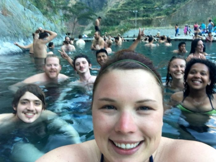 Hot springs in Santa Teresa Peru. Salkantay Trek