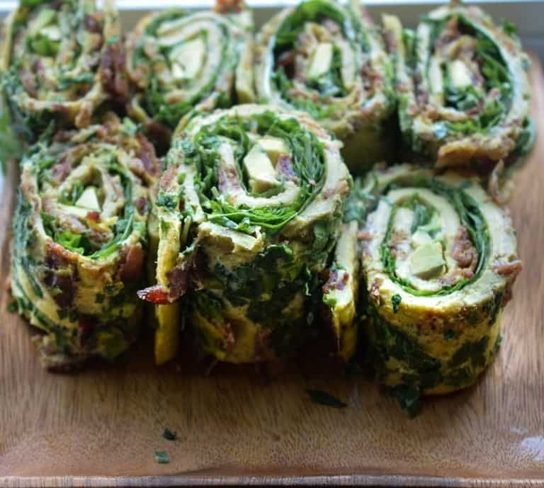 egg rollups with bacon, avocado, and greens
