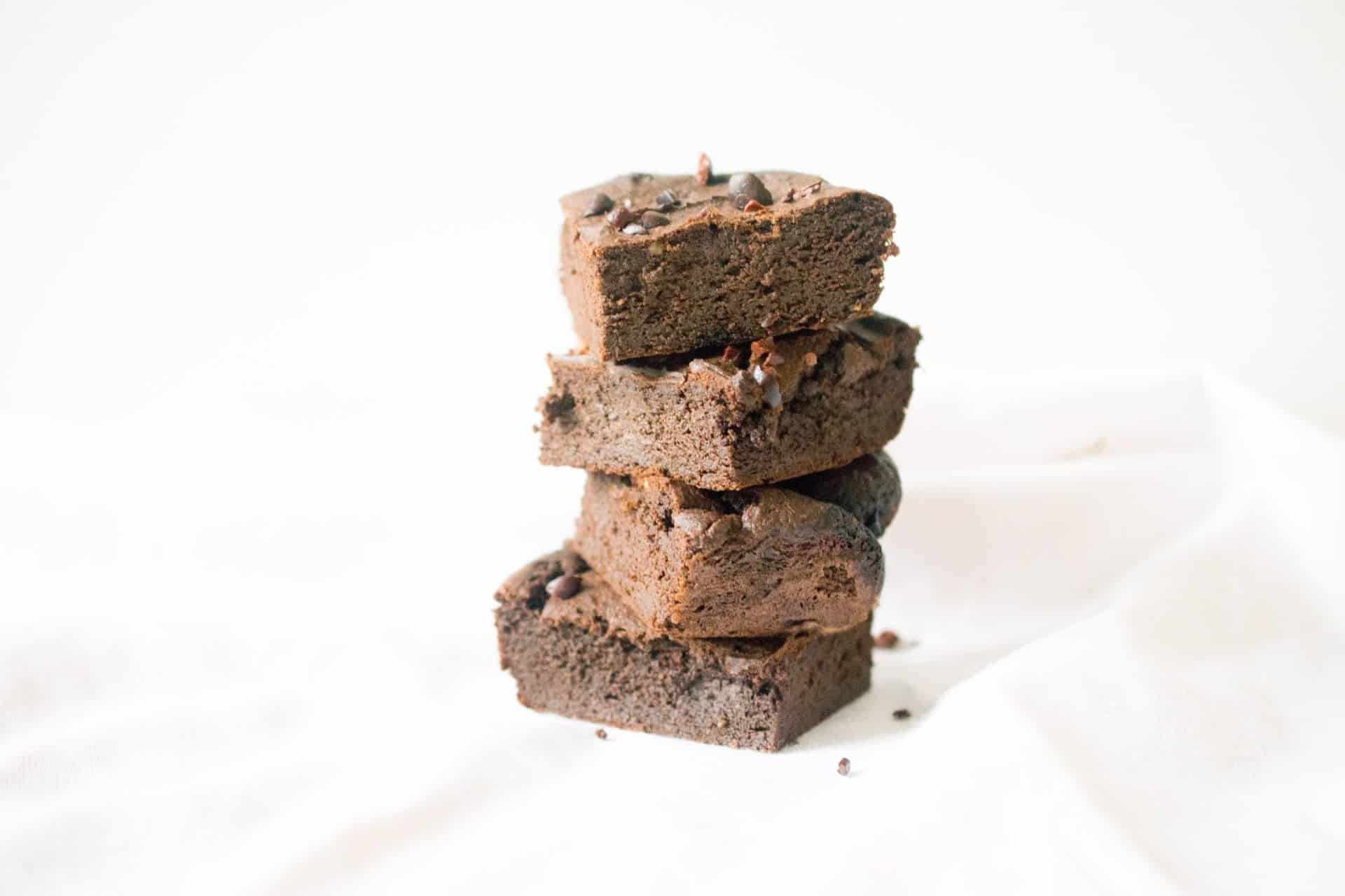 stack of flourless chocolate brownies