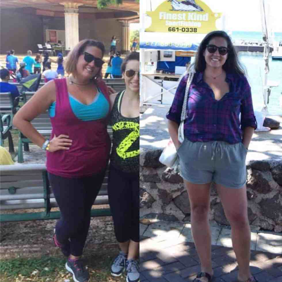side by side comparison of a woman's weight loss