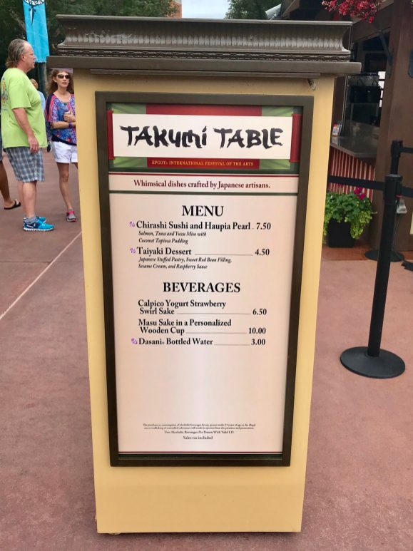 Japan Takumi Table Chirashi Taiyaki Epcot International Festival of the Arts Artful Epcot
