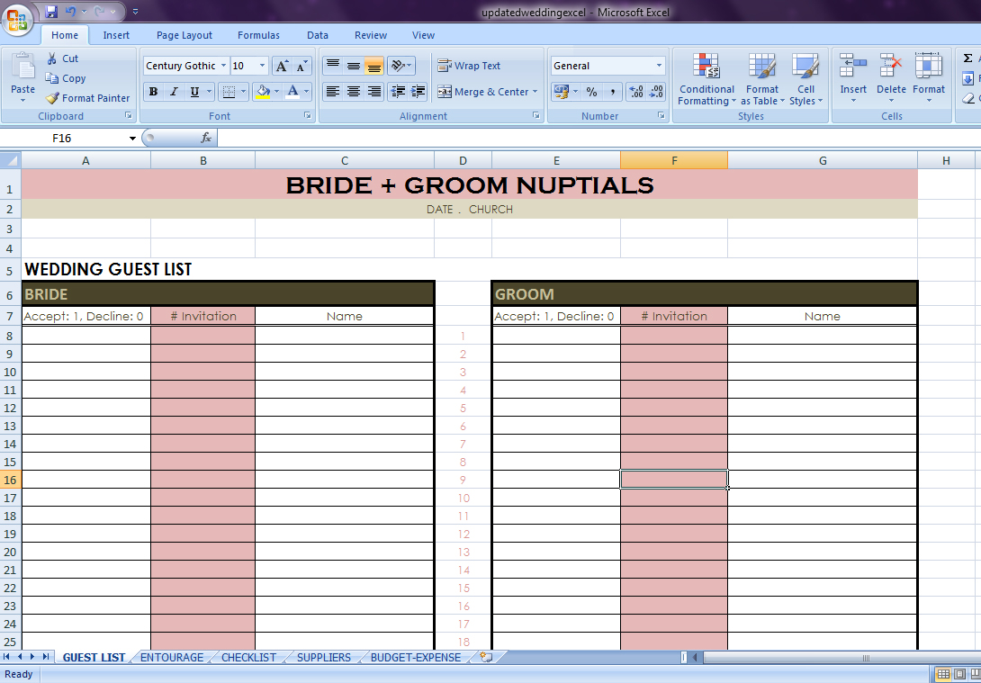 Wedding Checklist Excel