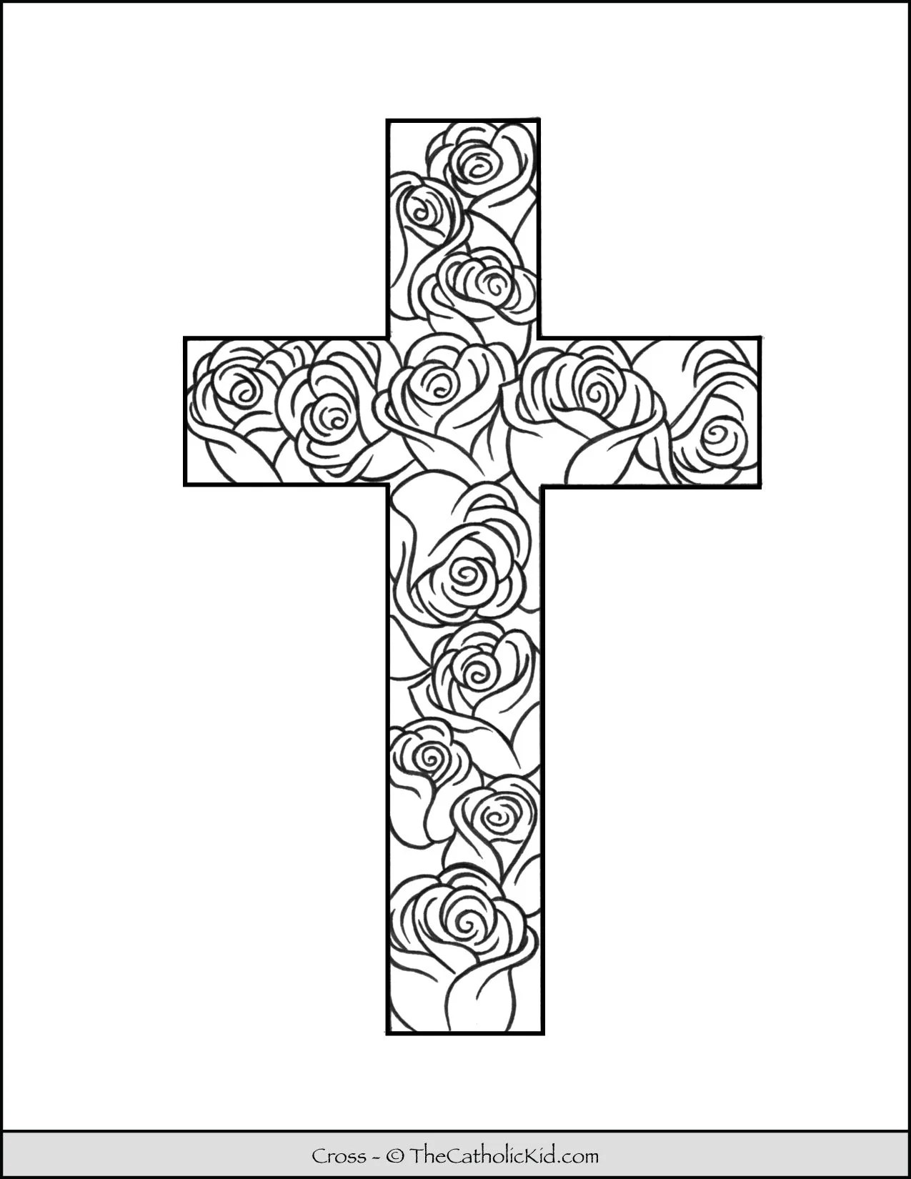 Cross Coloring Page : cross, coloring, Cross, Coloring, Stained, Glass, Pattern, TheCatholicKid.com