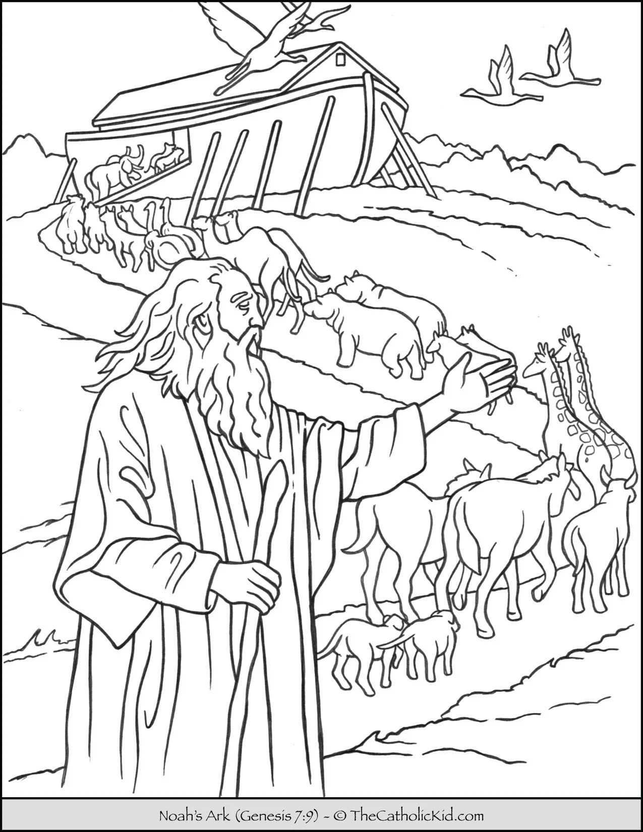 Noah's Ark Coloring Pages : noah's, coloring, pages, Noah's, Animals, Coloring, TheCatholicKid.com