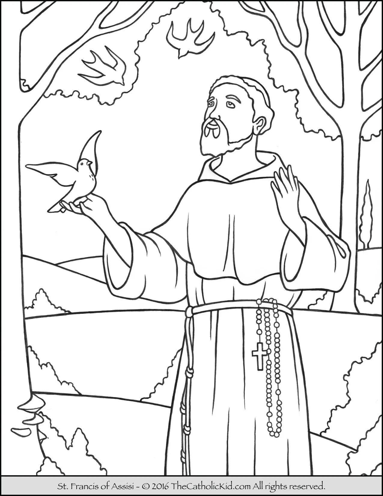 Catholic Saints Coloring Pages : catholic, saints, coloring, pages, Saint, Francis, Coloring