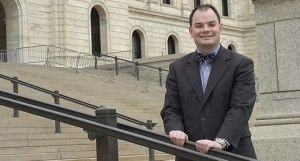 Jason Adkins, executive director of the Minnesota Catholic Conference, stands on the steps of the Minnesota Capitol in a Catholic Spirit file photo. Dianne Towalski / The Catholic Spirit