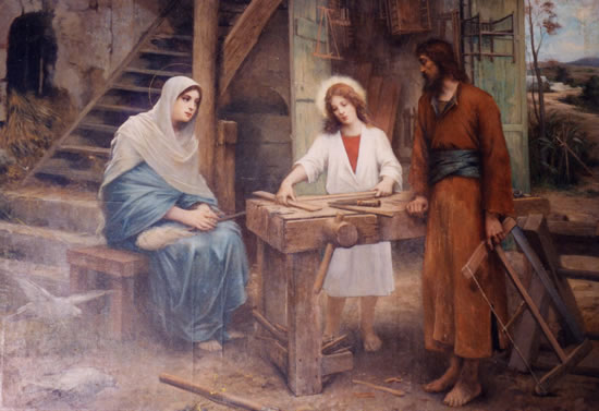 St. Joseph and Jesus and Mary in carpentry shop