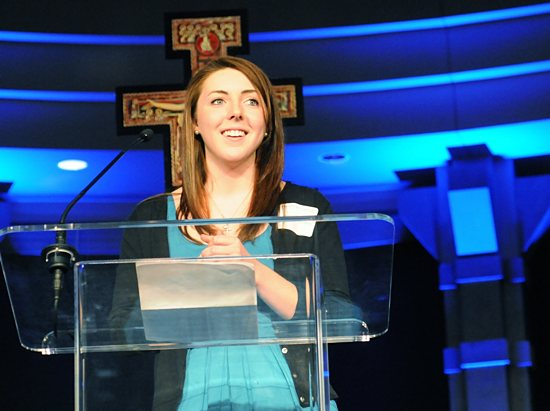 Sarah Spangenberg, a junior at the University of St. Thomas, gave a testimony during the St. Paul's Outreach Benefit Banquet Feb. 12 at the Crowne Plaza in St. Paul. Dianne Towalski / The Catholic Spirit