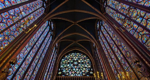 Interior of Sainte Chapelle in Paris, France