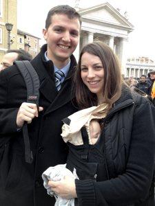 Tom Schulzetenberg enjoys the festivities in Rome with his wife JoAnn and son Mathias. Photo courtesy of Tom Schulzetenberg