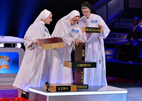 "Sisters Evangeline, Peter Joseph and Maria Suso participate in ""The American Bible Challenge."" CNS photo/Lisa Rose, courtesy GSN"