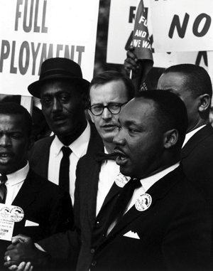 Mathew Ahmann, center, stands with the Rev. Martin Luther King, Jr., during the March on Washington.