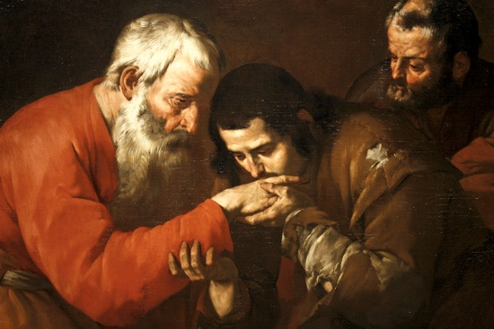 "A painting titled ""The Return of the Prodigal Son,"" by an unknown artist, is pictured at the Museum of Biblical Art in New York in this 2009 photo.  CNS photo/Bob Roller"