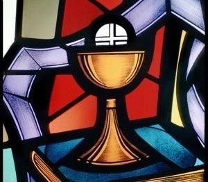 WINDOW DEPICTS PRIEST'S STOLE AROUND EUCHARIST, CHALICE