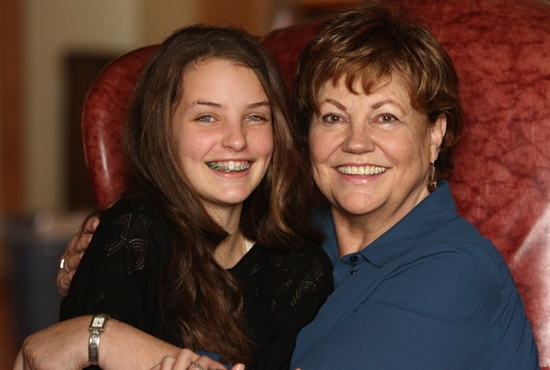 Celia Schneeman, left, is pictured with her grandmother Cecilia MacDonald.  Dave Hrbacek / The Catholic Spirit