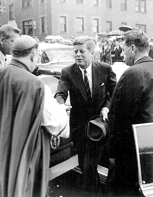 President John F. Kennedy reaches to shake hands with Bishop Gerald O'Keefe outside the Cathedral of St. Paul, Oct. 7, 1962.  Photo courtesy of the Cathedral of  St. Paul archives