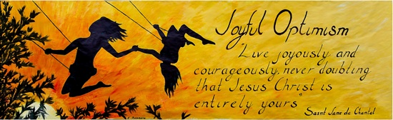 "Convent of the Visitation senior Emily Dinsmore created the banner to illustrate the school's theme for the current schoolyear, ""Joyful optimism."""