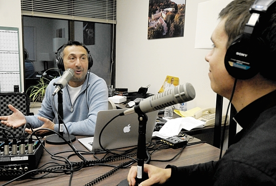 """Lino Rulli hangs out with Deacon Paul Shovelain during a broadcast of his Sirius/XM Radio show, """"The Catholic Guy"""" from St. Paul Seminary Nov. 13."""
