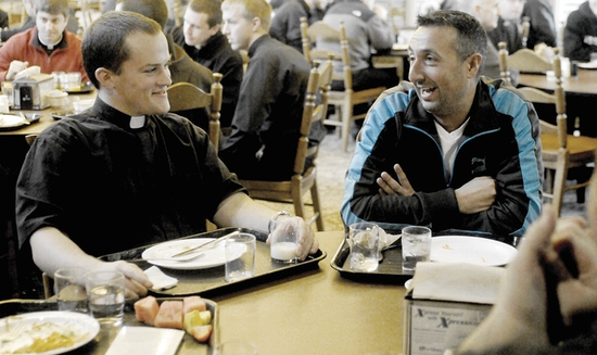 Rulli visits with Joseph Zabinski of St. Michael parish, St. Cloud, during  lunch time  at the seminary Nov. 14. Dianne Towalski / The Catholic Spirit