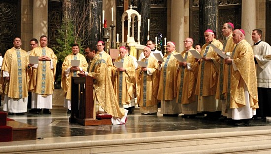 All bishops present join in the prayer of ordination.