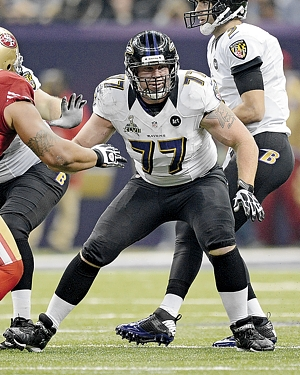 Center Matt Birk drops into pass protection during his final NFL game, the Super Bowl against the San Francisco 49ers last February. Birk retired after the game and turned his energy toward writing a book with friend and former neighbor Rich Chapman. Photo courtesy of the Baltimore Ravens