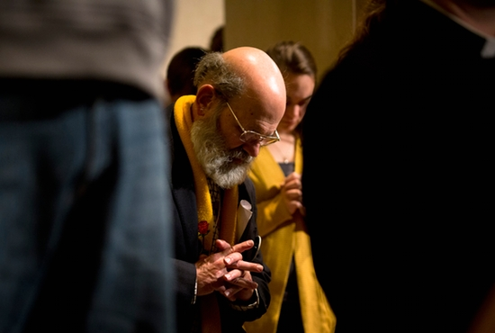 A man prays during the opening Mass of the National Prayer Vigil for Life at the Basilica of the National Shrine of the Immaculate Conception in Washington Jan. 21. CNS photo/Tyler Orsburn