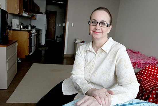 Julie Gergen is enjoying her new apartment at Catholic Charities' Higher Ground in Minneapolis. Dave Hrbacek / The Catholic Spirit