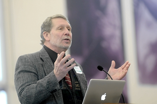 Douglas Bushman, who holds the Blessed Pope John Paul II Chair of Theology for the New Evangelization at the Augustine Institute in Denver, gave the keynote address about setting a steady course in the Catholic faith.