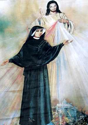 IMAGE SHOWS ST. FAUSTINA, JESUS THE DIVINE MERCY