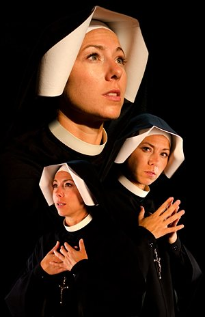 """Actress Maria Vargo, pictured in a photo collage, travels the country portraying St. Faustina in a multimedia presentation, """"Faustina: Messenger of Divine Mercy.""""  CNS photo/courtesy Saint Luke Productions"""