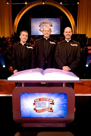 "Seminarians Deacon Marc Paveglio (from left), Mark Pavlak and Chad VanHoose pose on the set of Game Show Network's ""The American Bible Challenge."" Their team, Sons of Thunder, will compete on Episode 5, scheduled to air at 7 p.m. on June 19. Photo courtesy of Game Show Network"