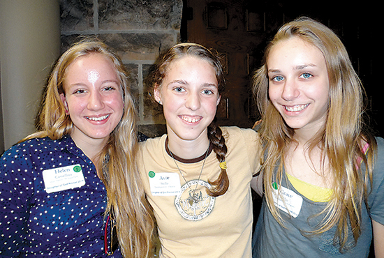 Helen Casselius (from left), Aviv Stella and Grace Aho were three of the 65 girls at Daughter of God: Retreat for Young Women Aug. 16 at the St. Paul Seminary. Bridget Ryder/For The Catholic Spirit