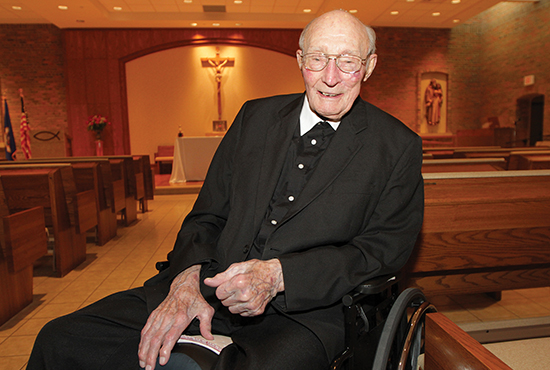 Christian Brother Basil Rothweiler recently celebrated his 80th jubilee at the Little Sisters of the Poor Holy Family Residence in St. Paul. Among his assignments during his years of ministry were positions as principal at both DeLaSalle High School and then Cretin High School. Dave Hrbacek/The Catholic Spirit