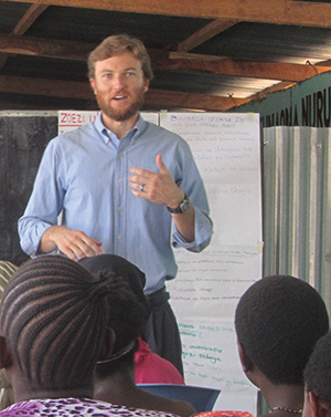 Michael Leen, a Maryknoll Lay Missioner, leads entrepreneurship training in Mwanza, Tanzania. Photo courtesy of Ashley and Michael Leen