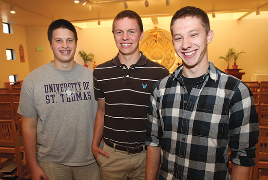 From left, St. John Vianney College Seminary students Lee Koenigsknecht, Dominic Shovelain and Zach Sandquist all say their older brothers played a role in their decision to come to SJV. Dave Hrbacek/The Catholic Spirit