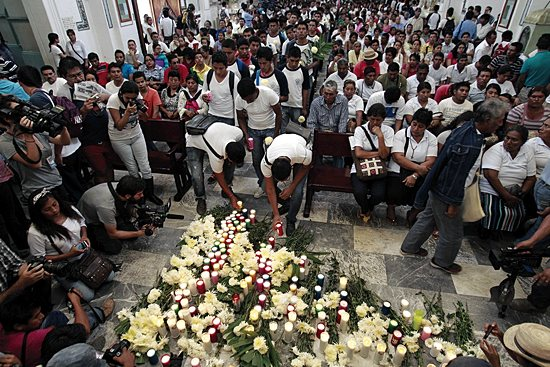 MISSING STUDENTS Relatives of 43 missing students celebrate Mass in Chilpancingo, Mexico, Oct. 14. The teacher trainees went missing Sept. 26.  CNS/Jose Mendez, EPA