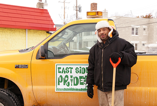 Robert Logan helps East Side Pride Exterior Maintenance Company keep sidewalks, alleys, driveways and parking lots free of ice and snow in St. Paul. The company uses funding from the USCCB's Campaign for Human Development to provide job training and community development services. Jennifer Janikula/For The Catholic Spirit