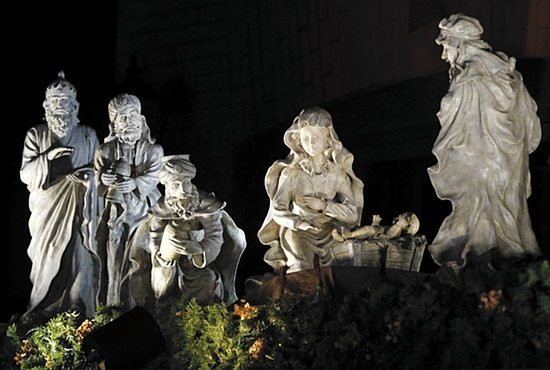 This Nativity scene is on display at Bethany Village (383 Portland Ave. in St. Paul), which is owned by Father Martin Fleming, a retired priest of the Archdiocese of St. Paul and Minneapolis.  The elevated display faces the sidewalk on Western Avenue N., which meets Portland at Summit Avenue., and is just a few blocks from the Cathedral of St. Paul. Dave Hrbacek/The Catholic Spirit
