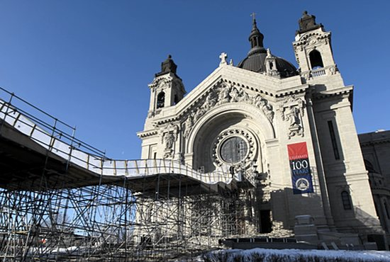 Course construction is under way at the Cathedral of St. Paul for the upcoming Red Bull Crashed Ice event, which will take place Jan. 22-24. This will be the fourth year that the event makes a stop in St. Paul. At the same time, the cathedral is preparing to celebrate its 100th anniversary. Dave Hrbacek/The Catholic Spirit