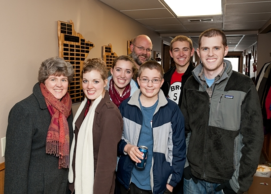 Joe Hall, right, poses for a picture in December, 2012, with other members of his family: his mother, Natalie, left, Sharon, Loretta, Nick (his father), Nicholas and David. Photo by Wendy Zins
