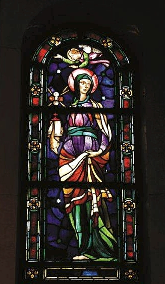 St. Clare of Assisi, pictured in a stained glass window in the Cathedral of St. Paul, is a model for the fasting habits of Franciscans, including the Poor Clares in Minneapolis. Courtesy the Cathedral of St. Paul