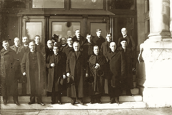 Archbishop John Ireland, shown here in an undated file photo with priests of what was then the Archdiocese of St. Paul, chose not to receive priests from his native country, and opted for homegrown priests, many who came from Irish-American families, with the establishment of the St. Paul Seminary.