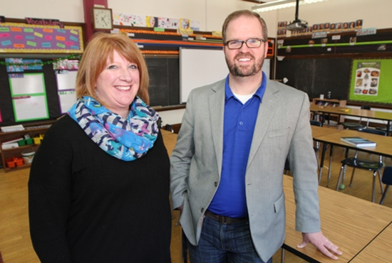 Kari Staples, principal of St. Alphonsus Parish School in Brooklyn Park, and Zach Zeckser, principal of St. Mark's Catholic School in St. Paul, are implementing in their schools this fall a new educational initiative called IDEALS, based on Harvard developmental psychologist Howard Gardner's Multiple Intelligence Theory. Dave Hrbacek/The Catholic Spirit.