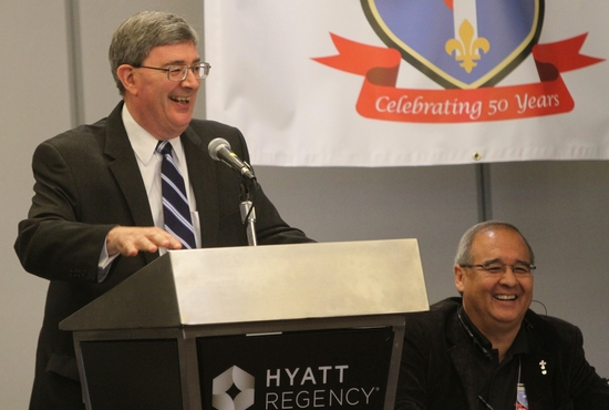George Weigel speaks before an audience at the National Association of Diaconate Directors' 2015 convention April 23. Dave Hrbacek/The Catholic Spirit