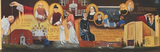 A new mural inside Immaculate Conception School in Columbia Heights depicts the sacramental life of a student and the parish history. The school commissioned the mural by artist Carole Bersin in honor of its 75th anniversary. Photo by John P. Ashmore