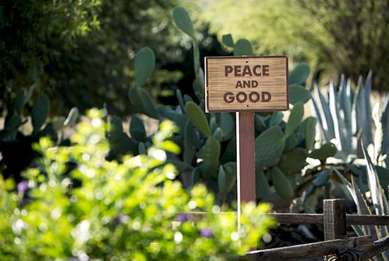A sign greets visitors to the meditation garden  at the Franciscan Renewal Center in Scottsdale, Arizona, in this October 2014 photo. Pope Francis' long-anticipated encyclical on the environment was released at the Vatican June 18. CNS